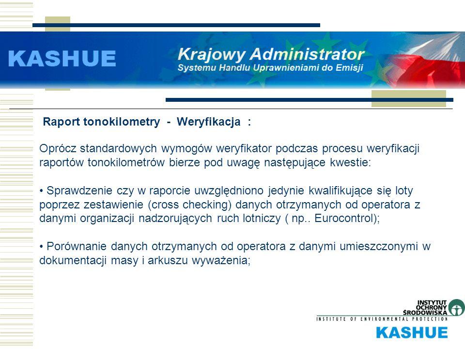 Raport tonokilometry - Weryfikacja : Oprócz standardowych wymogów weryfikator podczas procesu weryfikacji raportów tonokilometrów bierze pod uwagę nas
