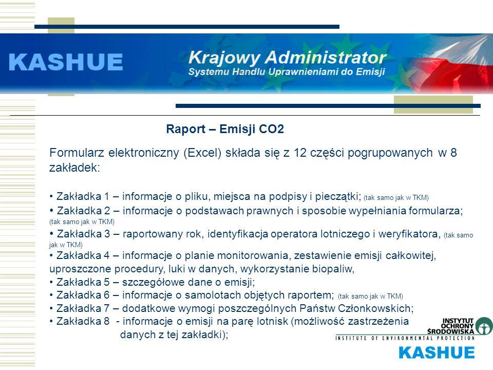 Raport – Emisji CO2 Formularz elektroniczny (Excel) składa się z 12 części pogrupowanych w 8 zakładek: Zakładka 1 – informacje o pliku, miejsca na pod