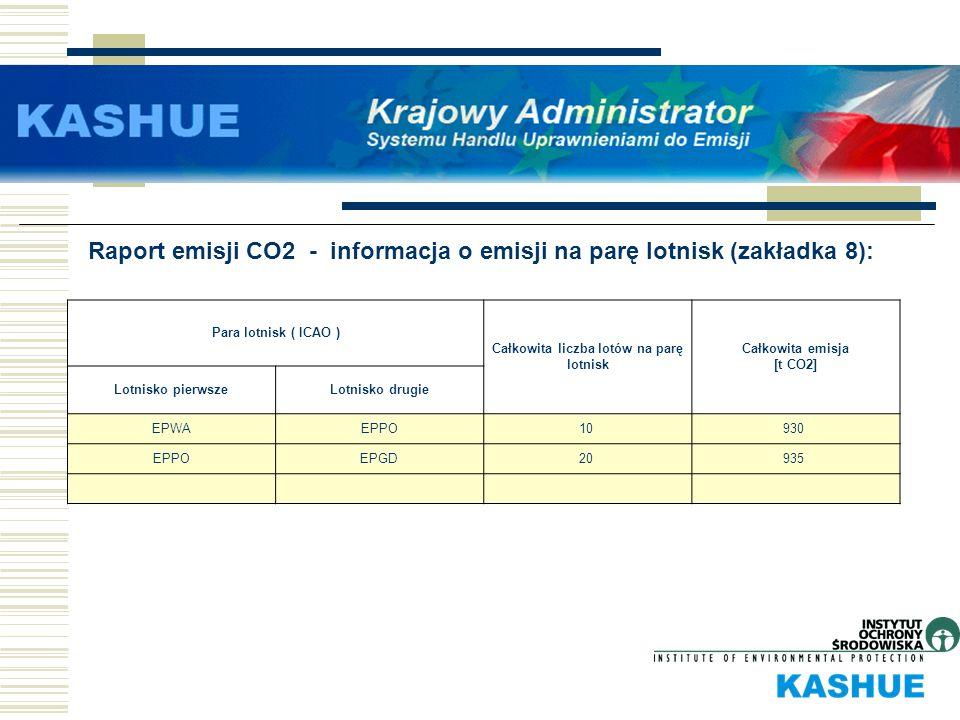 Raport emisji CO2 - informacja o emisji na parę lotnisk (zakładka 8): Para lotnisk ( ICAO ) Całkowita liczba lotów na parę lotnisk Całkowita emisja [t