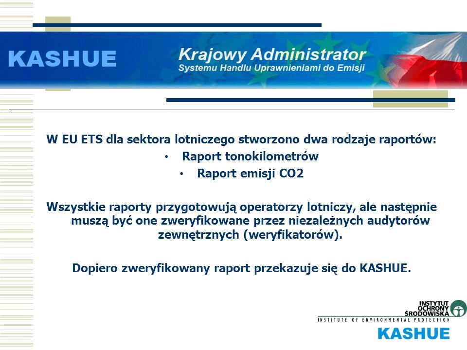W EU ETS dla sektora lotniczego stworzono dwa rodzaje raportów: Raport tonokilometrów Raport emisji CO2 Wszystkie raporty przygotowują operatorzy lotn