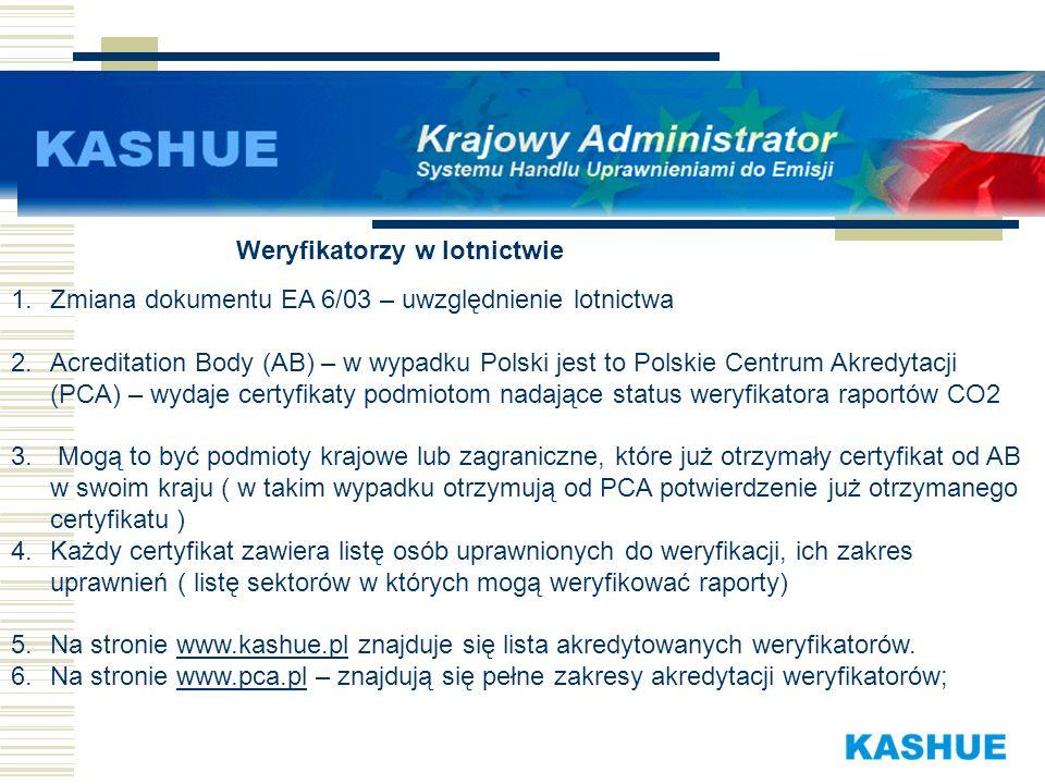 1.Zmiana dokumentu EA 6/03 – uwzględnienie lotnictwa 2.Acreditation Body (AB) – w wypadku Polski jest to Polskie Centrum Akredytacji (PCA) – wydaje ce