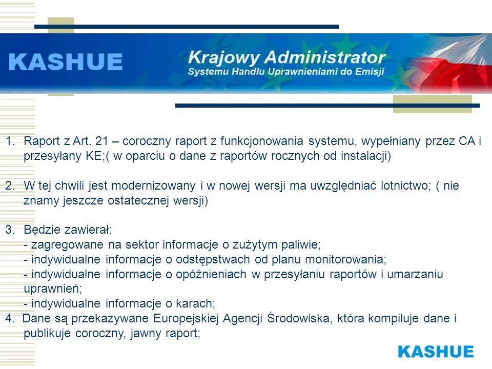 1.Raport z Art. 21 – coroczny raport z funkcjonowania systemu, wypełniany przez CA i przesyłany KE;( w oparciu o dane z raportów rocznych od instalacj