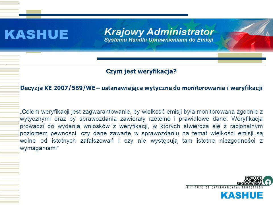 Czym jest weryfikacja? Decyzja KE 2007/589/WE – ustanawiająca wytyczne do monitorowania i weryfikacji Celem weryfikacji jest zagwarantowanie, by wielk