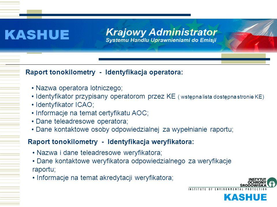 Raport tonokilometry - Identyfikacja operatora: Nazwa operatora lotniczego; Identyfikator przypisany operatorom przez KE ( wstępna lista dostępna stro