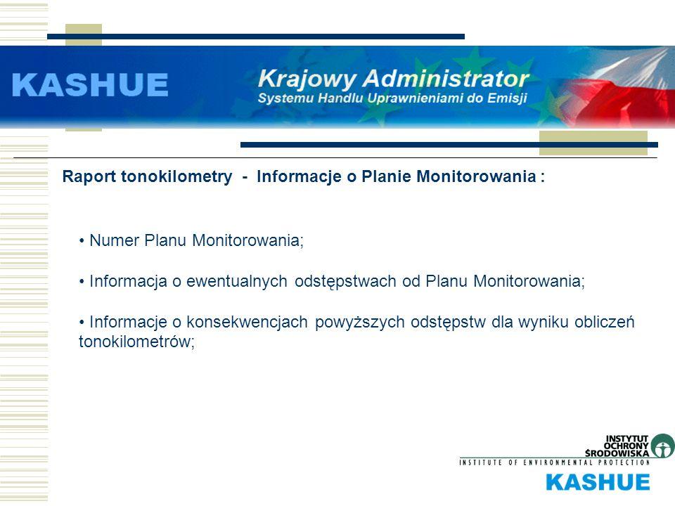 Raport tonokilometry - Informacje o Planie Monitorowania : Numer Planu Monitorowania; Informacja o ewentualnych odstępstwach od Planu Monitorowania; I