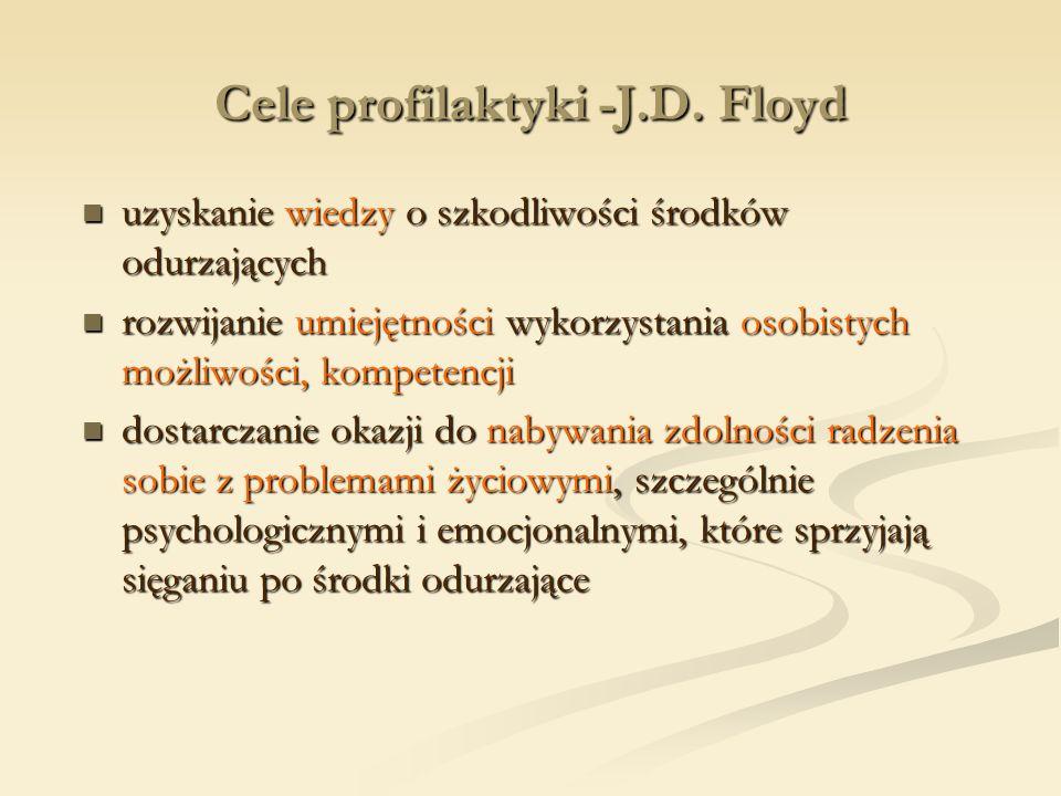 Cele profilaktyki -J.D. Floyd uzyskanie wiedzy o szkodliwości środków odurzających uzyskanie wiedzy o szkodliwości środków odurzających rozwijanie umi