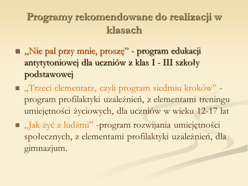 Programy rekomendowane do realizacji w klasach Nie pal przy mnie, proszę - program edukacji antytytoniowej dla uczniów z klas I - III szkoły podstawow