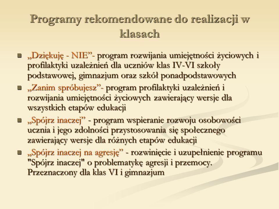 Programy rekomendowane do realizacji w klasach Dziękuję - NIE- program rozwijania umiejętności życiowych i profilaktyki uzależnień dla uczniów klas IV