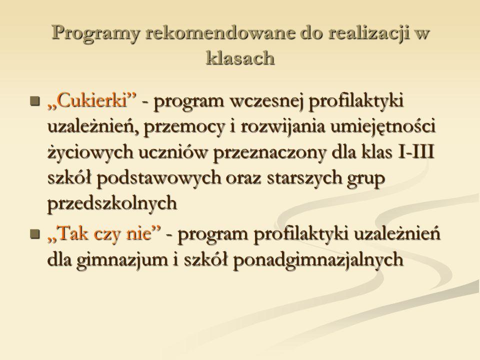 Programy rekomendowane do realizacji w klasach Cukierki - program wczesnej profilaktyki uzależnień, przemocy i rozwijania umiejętności życiowych uczni