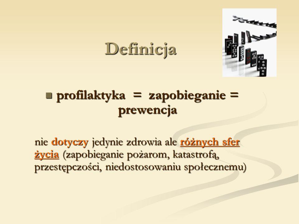 Definicja profilaktyka = zapobieganie = prewencja profilaktyka = zapobieganie = prewencja nie dotyczy jedynie zdrowia ale różnych sfer życia (zapobieg
