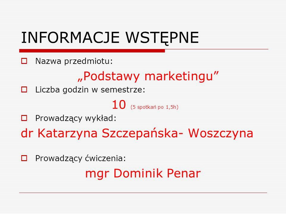 INFORMACJE WSTĘPNE Nazwa przedmiotu: Podstawy marketingu Liczba godzin w semestrze: 10 (5 spotkań po 1,5h) Prowadzący wykład: dr Katarzyna Szczepańska