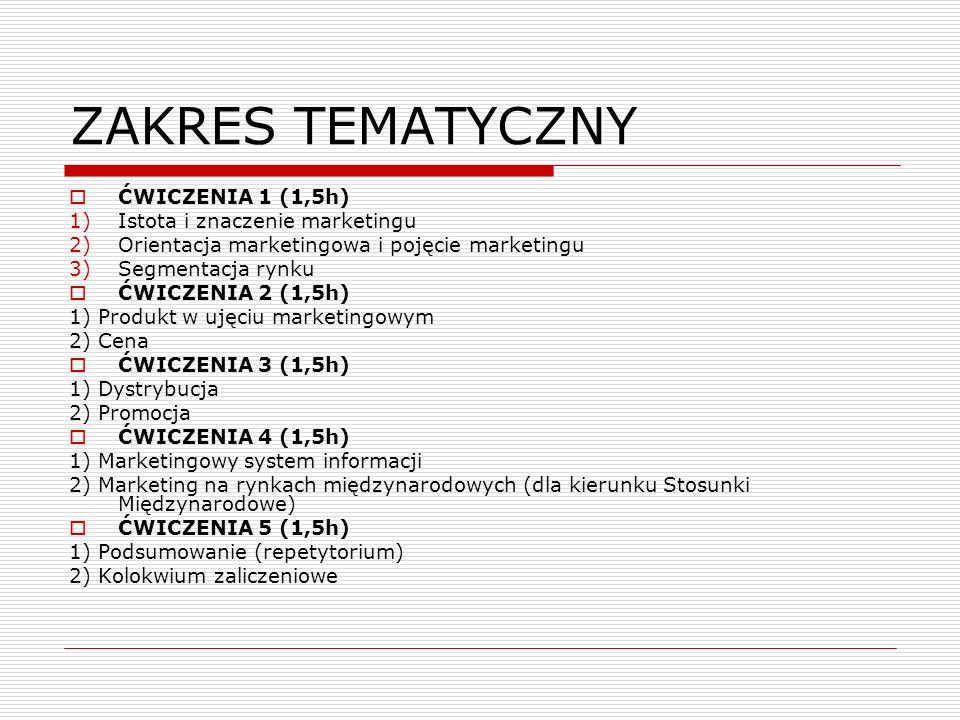 ZAKRES TEMATYCZNY ĆWICZENIA 1 (1,5h) 1)Istota i znaczenie marketingu 2)Orientacja marketingowa i pojęcie marketingu 3)Segmentacja rynku ĆWICZENIA 2 (1
