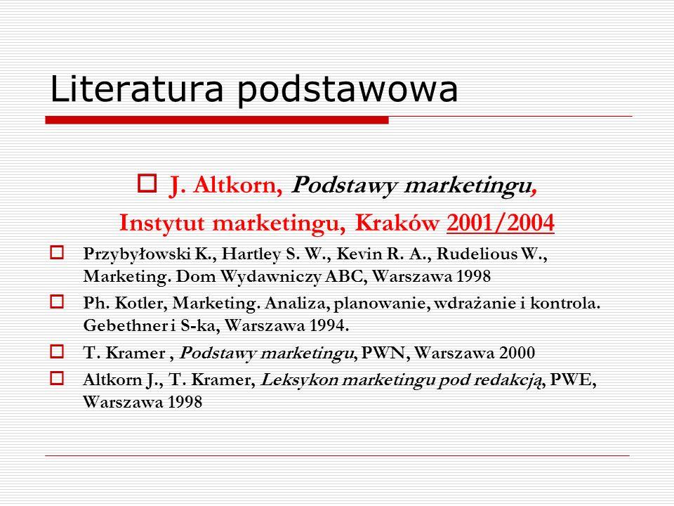 Literatura podstawowa J. Altkorn, Podstawy marketingu, Instytut marketingu, Kraków 2001/2004 Przybyłowski K., Hartley S. W., Kevin R. A., Rudelious W.