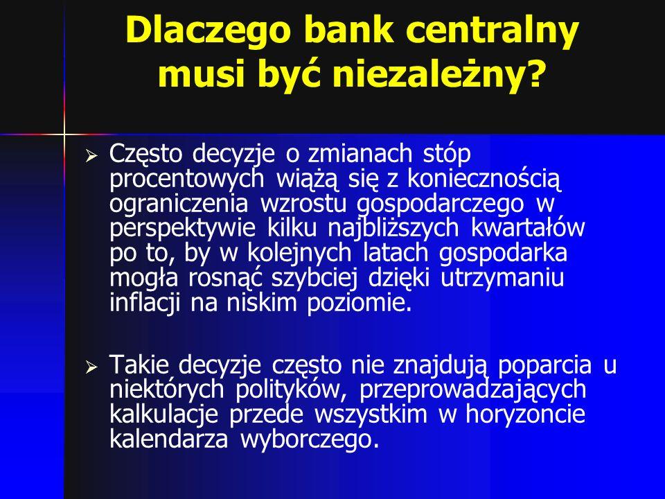 Dlaczego bank centralny musi być niezależny? Często decyzje o zmianach stóp procentowych wiążą się z koniecznością ograniczenia wzrostu gospodarczego