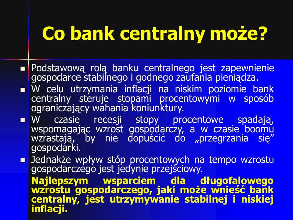Co bank centralny może? Podstawową rolą banku centralnego jest zapewnienie gospodarce stabilnego i godnego zaufania pieniądza. W celu utrzymania infla