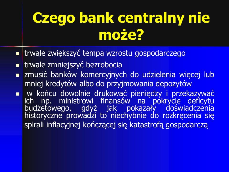 Czego bank centralny nie może? trwale zwiększyć tempa wzrostu gospodarczego trwale zmniejszyć bezrobocia zmusić banków komercyjnych do udzielenia więc