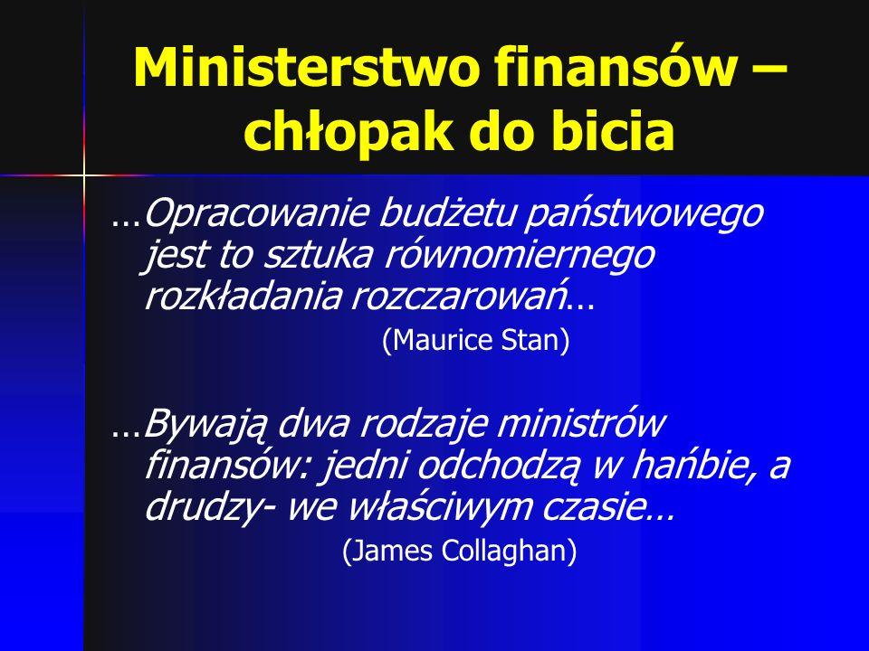 Ministerstwo finansów – chłopak do bicia …Opracowanie budżetu państwowego jest to sztuka równomiernego rozkładania rozczarowań… (Maurice Stan) …Bywają