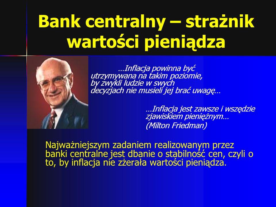 Bank centralny – strażnik wartości pieniądza …Inflacja powinna być utrzymywana na takim poziomie, by zwykli ludzie w swych decyzjach nie musieli jej b
