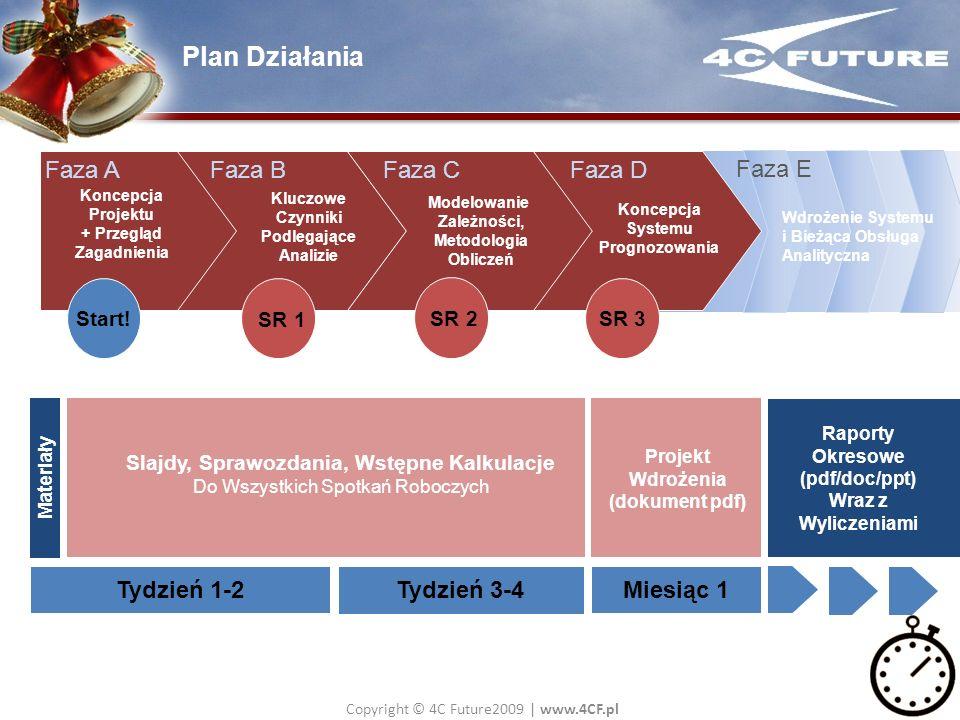 Copyright © 4C Future2009   www.4CF.pl Plan Działania Koncepcja Systemu Prognozowania Modelowanie Zależności, Metodologia Obliczeń Kluczowe Czynniki P
