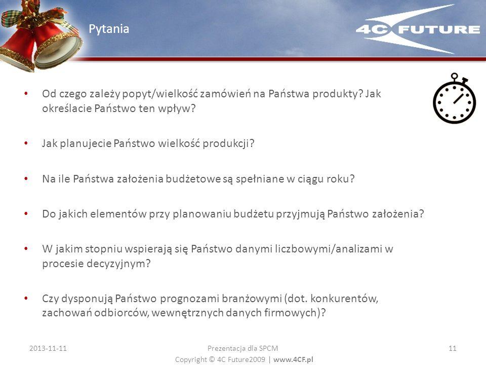 Copyright © 4C Future2009   www.4CF.pl Od czego zależy popyt/wielkość zamówień na Państwa produkty? Jak określacie Państwo ten wpływ? Jak planujecie P