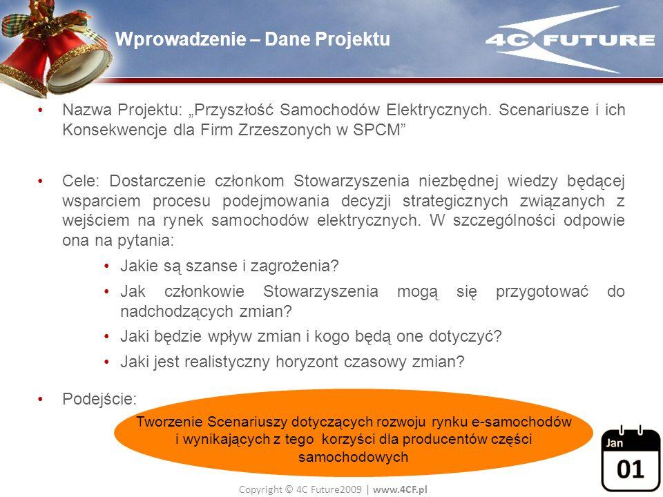Copyright © 4C Future2009   www.4CF.pl Wprowadzenie – Dane Projektu Nazwa Projektu: Przyszłość Samochodów Elektrycznych. Scenariusze i ich Konsekwencj