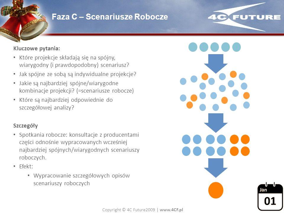 Copyright © 4C Future2009   www.4CF.pl Faza C – Scenariusze Robocze Kluczowe pytania: Które projekcje składają się na spójny, wiarygodny (i prawdopodo