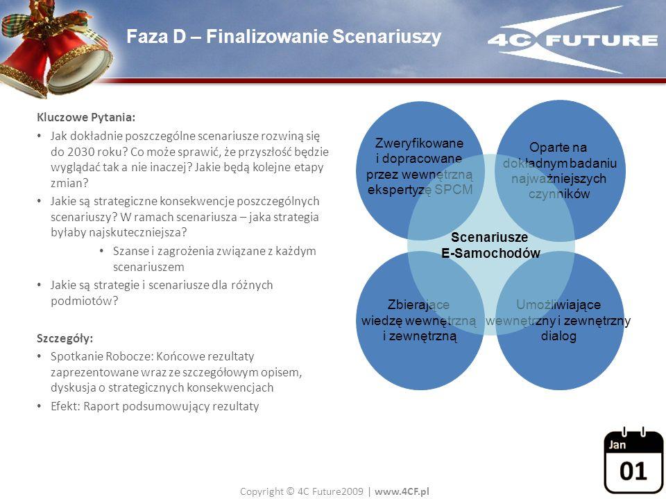 Copyright © 4C Future2009   www.4CF.pl Faza D – Finalizowanie Scenariuszy Kluczowe Pytania: Jak dokładnie poszczególne scenariusze rozwiną się do 2030
