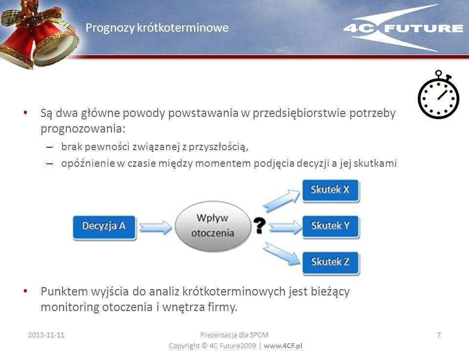 Copyright © 4C Future2009   www.4CF.pl Są dwa główne powody powstawania w przedsiębiorstwie potrzeby prognozowania: – brak pewności związanej z przysz