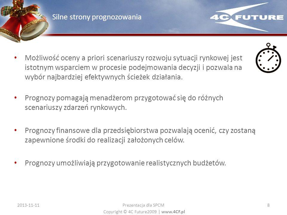 Copyright © 4C Future2009   www.4CF.pl Możliwość oceny a priori scenariuszy rozwoju sytuacji rynkowej jest istotnym wsparciem w procesie podejmowania
