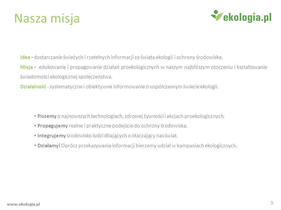 www.ekologia.pl Kilka faktów o nas Istniejemy na rynku od 2007 roku.