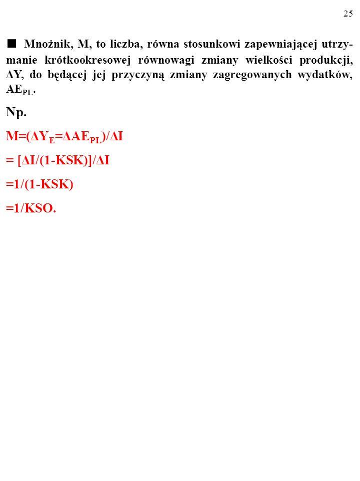 24 Mnożnik, M, to liczba, równa stosunkowi zapewniającej utrzy- manie krótkookresowej równowagi zmiany wielkości produkcji, ΔY, do będącej jej przyczy