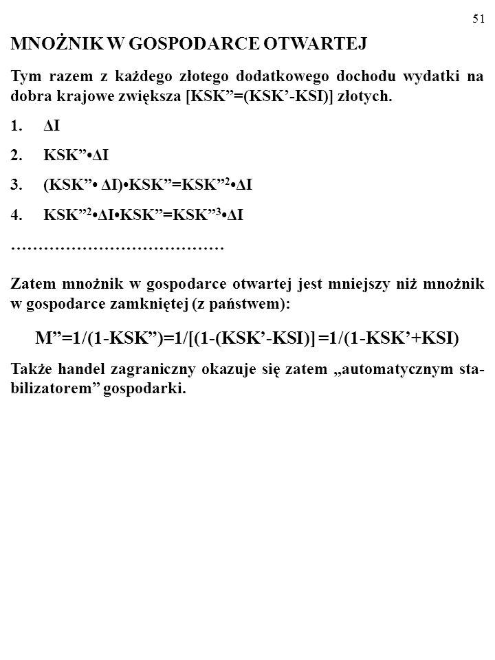 50 C=KSKY-KSIY+C a =(KSK-KSI)Y+C a =KSKY+C a. KSK=KSK-KSI KSK<KSK, więc nachylenie wykresu funkcji konsumpcji w ot- wartej gospodarce z państwem, C PL