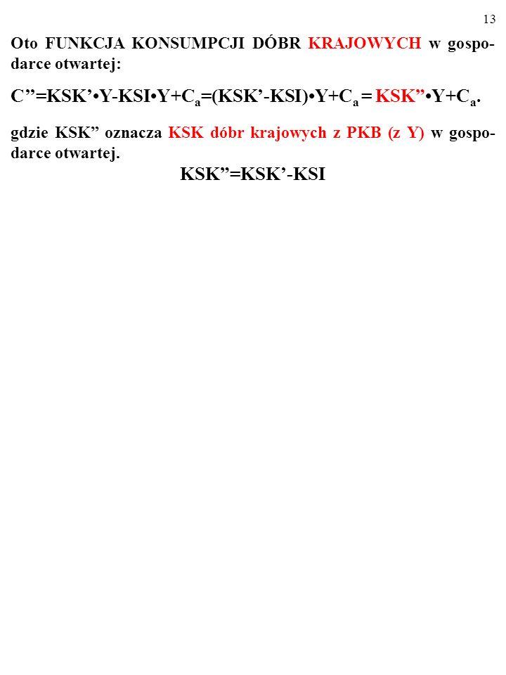 12 Oto FUNKCJA KONSUMPCJI DÓBR KRAJOWYCH w gospo- darce otwartej: C=KSKY-KSIY+C a =(KSK-KSI)Y+C a …