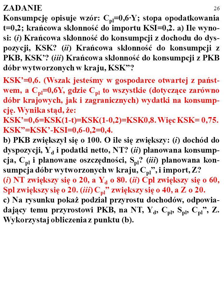 25 ZADANIE Konsumpcję opisuje wzór: C pl =0,6·Y; stopa opodatkowania t=0,2; krańcowa skłonność do importu KSI=0,2. a) Ile wyno- si: (i) Krańcowa skłon