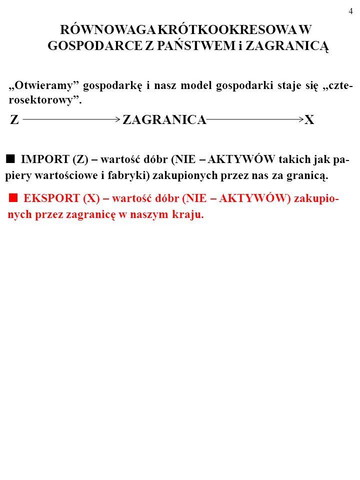 4 Z ZAGRANICA X EKSPORT (X) – wartość dóbr (NIE – AKTYWÓW) zakupio- nych przez zagranicę w naszym kraju.