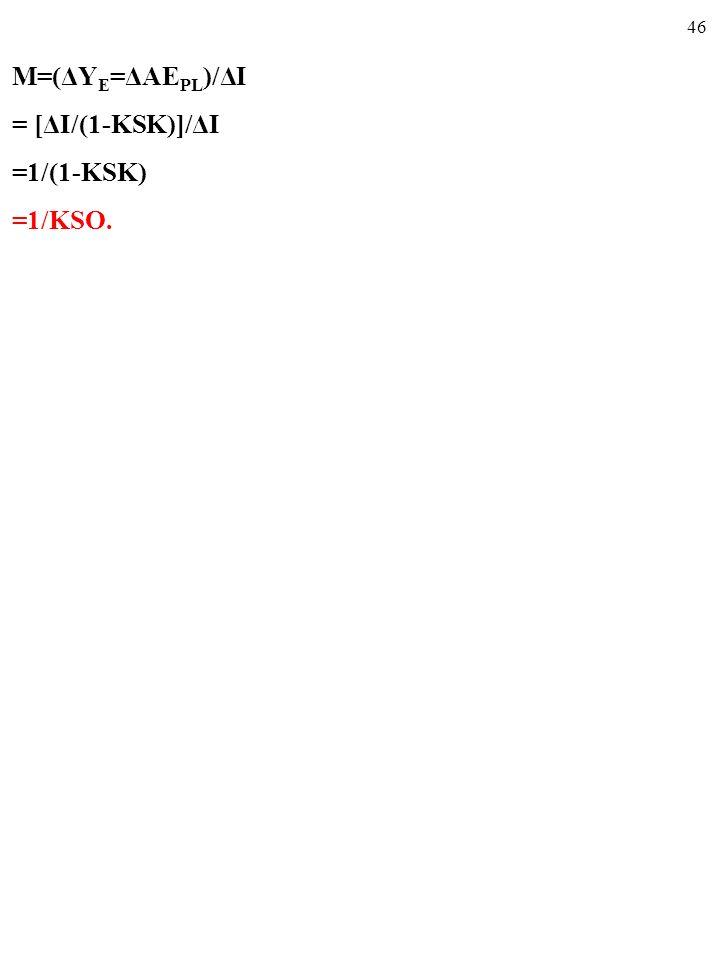 45 M=(ΔY E =ΔAE PL )/ΔI = [ΔI/(1-KSK)]/ΔI =1/(1-KSK)