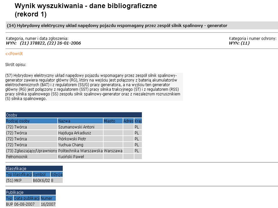 Wynik wyszukiwania - dane bibliograficzne (rekord 1)