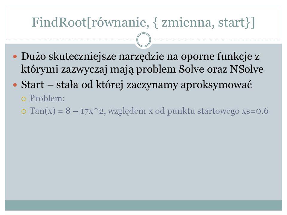 FindRoot[równanie, { zmienna, start}] Dużo skuteczniejsze narzędzie na oporne funkcje z którymi zazwyczaj mają problem Solve oraz NSolve Start – stała