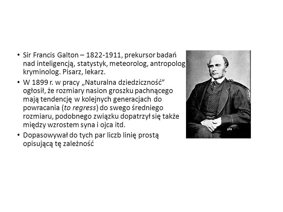 Sir Francis Galton – 1822-1911, prekursor badań nad inteligencją, statystyk, meteorolog, antropolog, kryminolog. Pisarz, lekarz. W 1899 r. w pracy Nat