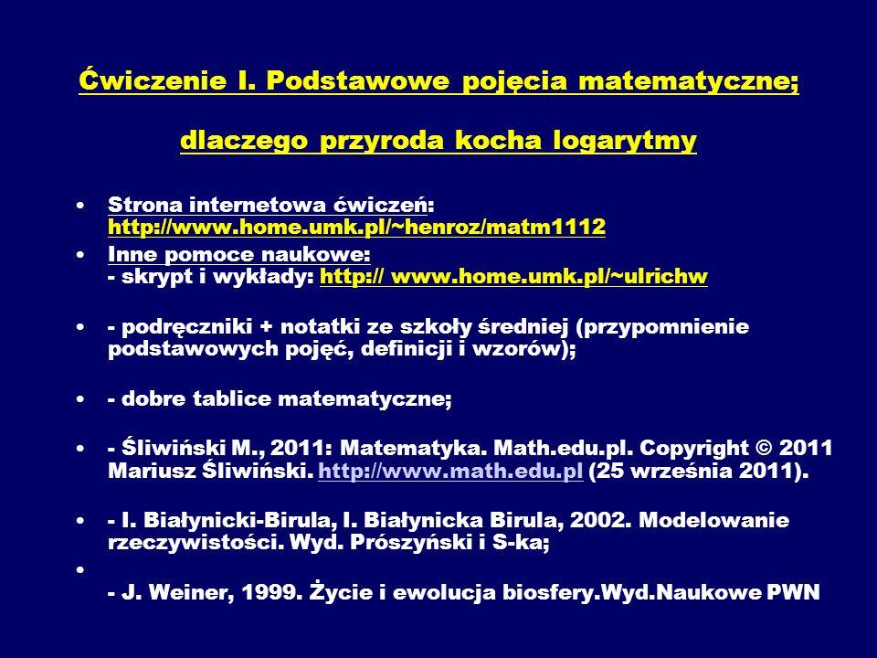 Ćwiczenie I. Podstawowe pojęcia matematyczne; dlaczego przyroda kocha logarytmy Strona internetowa ćwiczeń: http://www.home.umk.pl/~henroz/matm1112 In