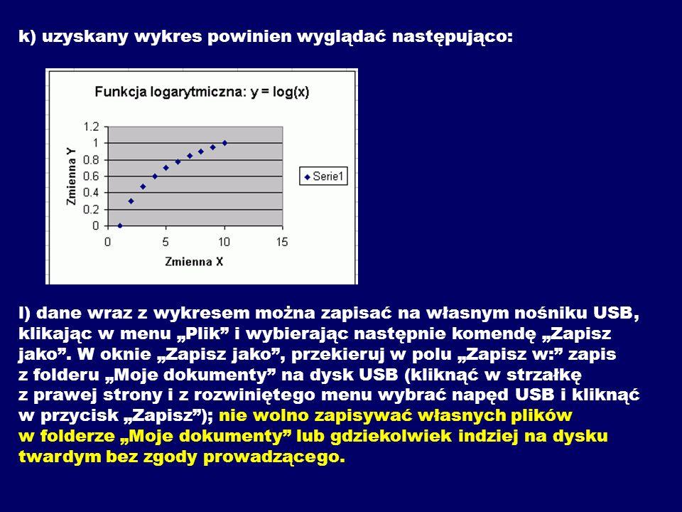 k) uzyskany wykres powinien wyglądać następująco: l) dane wraz z wykresem można zapisać na własnym nośniku USB, klikając w menu Plik i wybierając nast