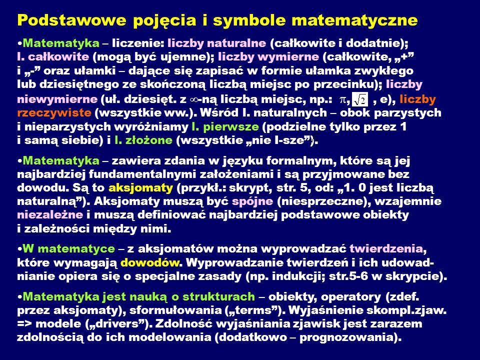 Podstawowe pojęcia i symbole matematyczne Matematyka – liczenie: liczby naturalne (całkowite i dodatnie); l. całkowite (mogą być ujemne); liczby wymie