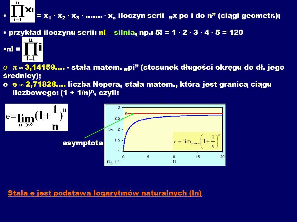 = x 1. x 2. x 3......... x n iloczyn serii x po i do n (ciągi geometr.); przykład iloczynu serii: n! – silnia, np.: 5! = 1. 2. 3. 4. 5 = 120 n! = 3,14