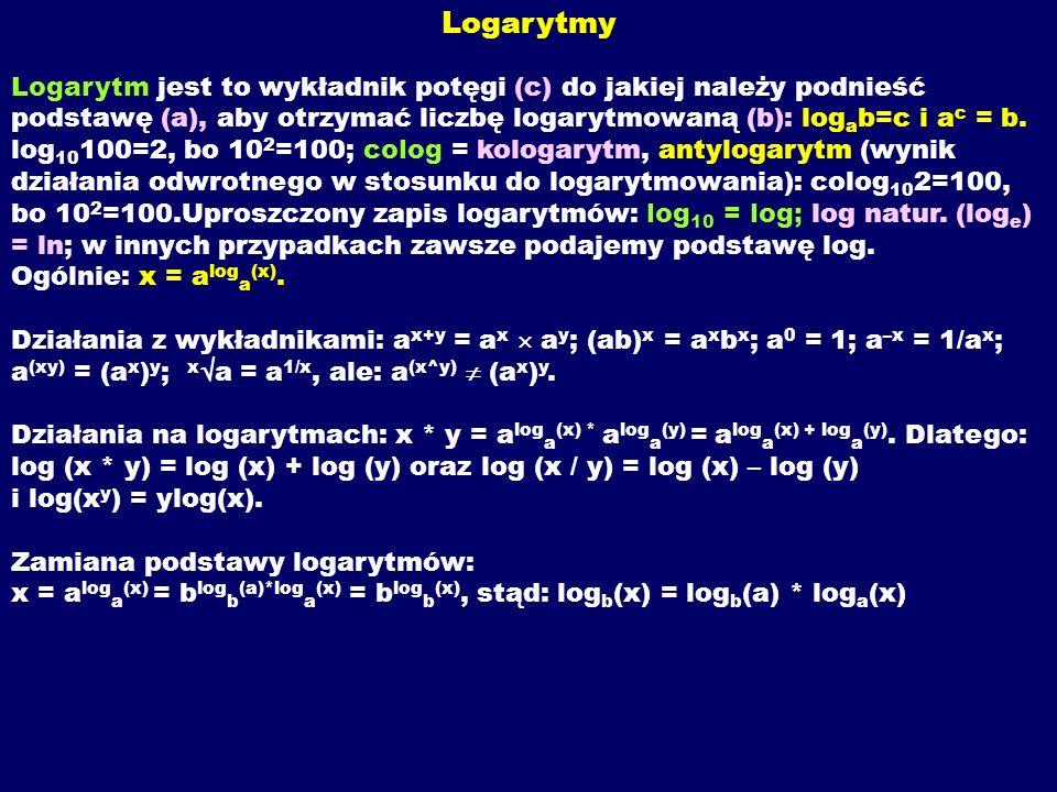 Logarytmy Logarytm jest to wykładnik potęgi (c) do jakiej należy podnieść podstawę (a), aby otrzymać liczbę logarytmowaną (b): log a b=c i a c = b. lo