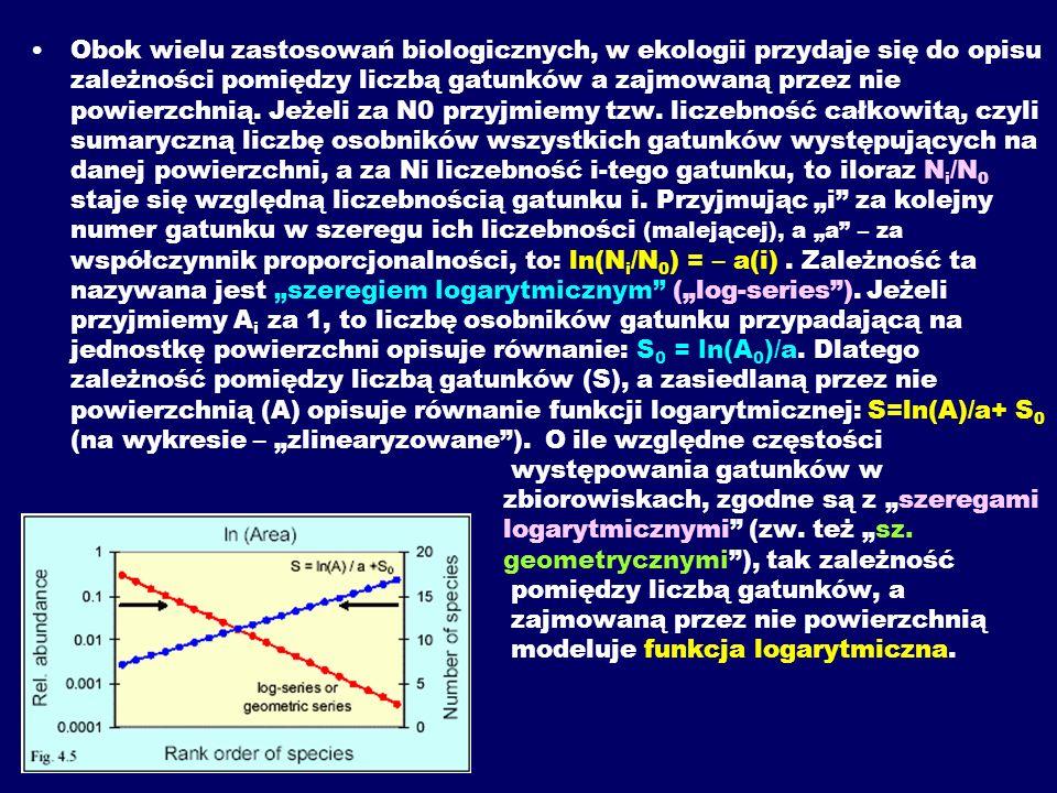 Obok wielu zastosowań biologicznych, w ekologii przydaje się do opisu zależności pomiędzy liczbą gatunków a zajmowaną przez nie powierzchnią. Jeżeli z