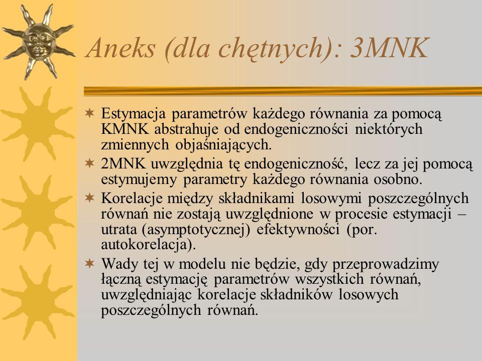 Aneks (dla chętnych): 3MNK Estymacja parametrów każdego równania za pomocą KMNK abstrahuje od endogeniczności niektórych zmiennych objaśniających. 2MN