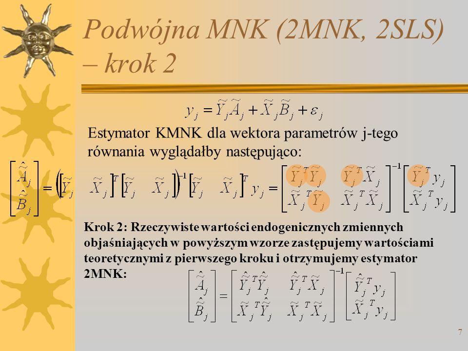 Podwójna MNK (2MNK, 2SLS) – krok 2 7 Krok 2: Rzeczywiste wartości endogenicznych zmiennych objaśniających w powyższym wzorze zastępujemy wartościami t