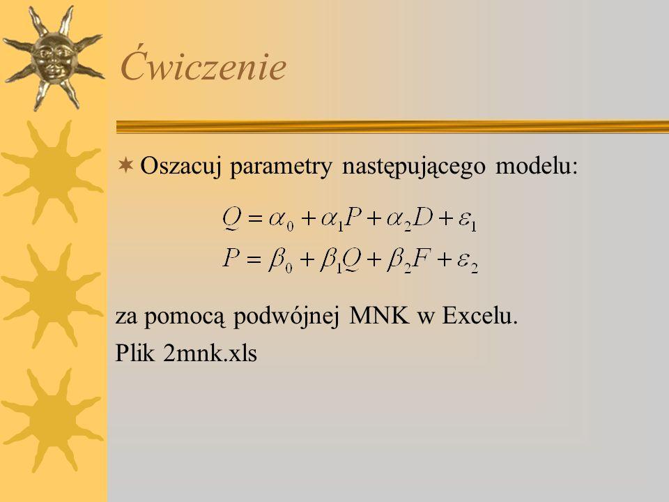 Ćwiczenie Oszacuj parametry następującego modelu: za pomocą podwójnej MNK w Excelu. Plik 2mnk.xls