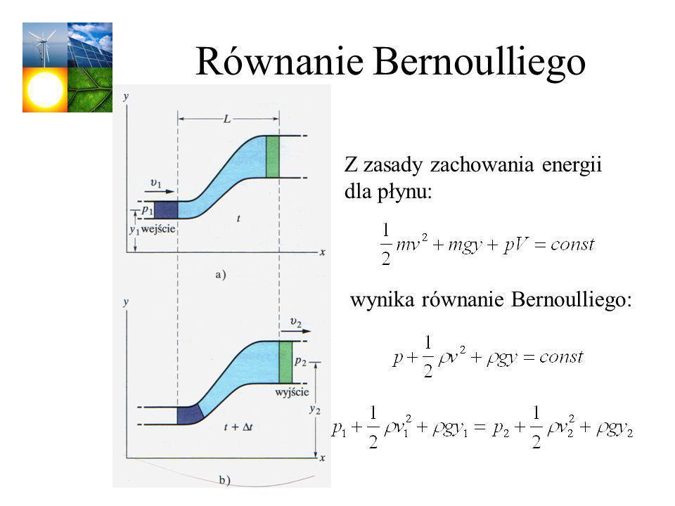 Równanie Bernoulliego Z zasady zachowania energii dla płynu: wynika równanie Bernoulliego: