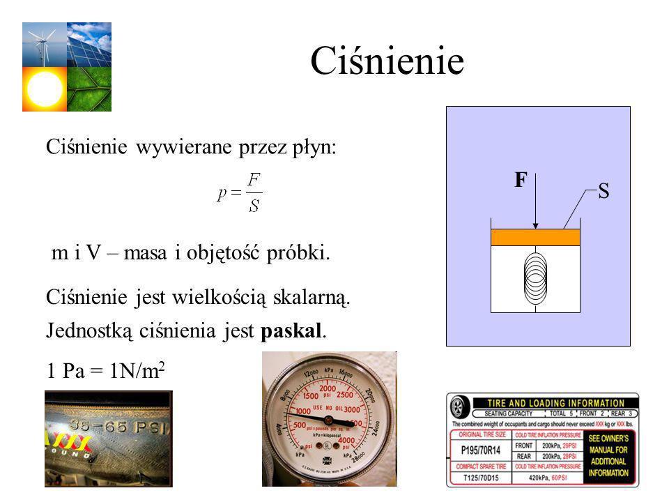 Ciśnienie m i V – masa i objętość próbki. Ciśnienie wywierane przez płyn: Ciśnienie jest wielkością skalarną. F S Jednostką ciśnienia jest paskal. 1 P